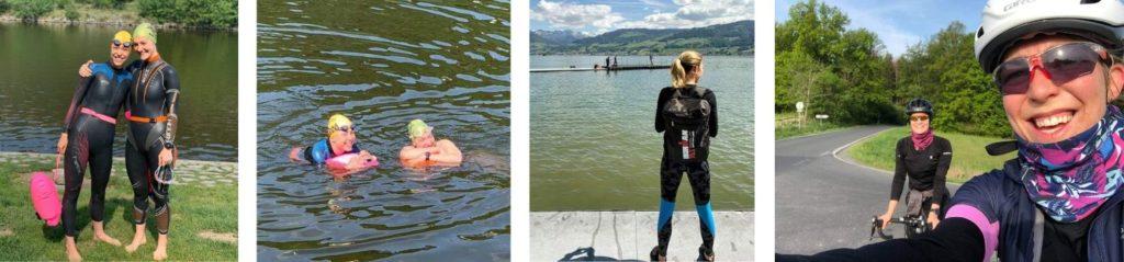 Foto z halfIronmana a z plavání v Braníku s Rekou